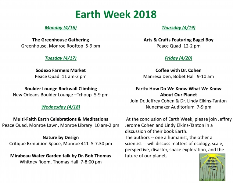 Loyola Calendar.2018 Earth Week Schedule College Of Arts And Sciences